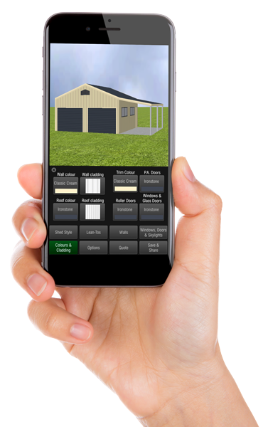 Shed designer app on smartphone screen in hand
