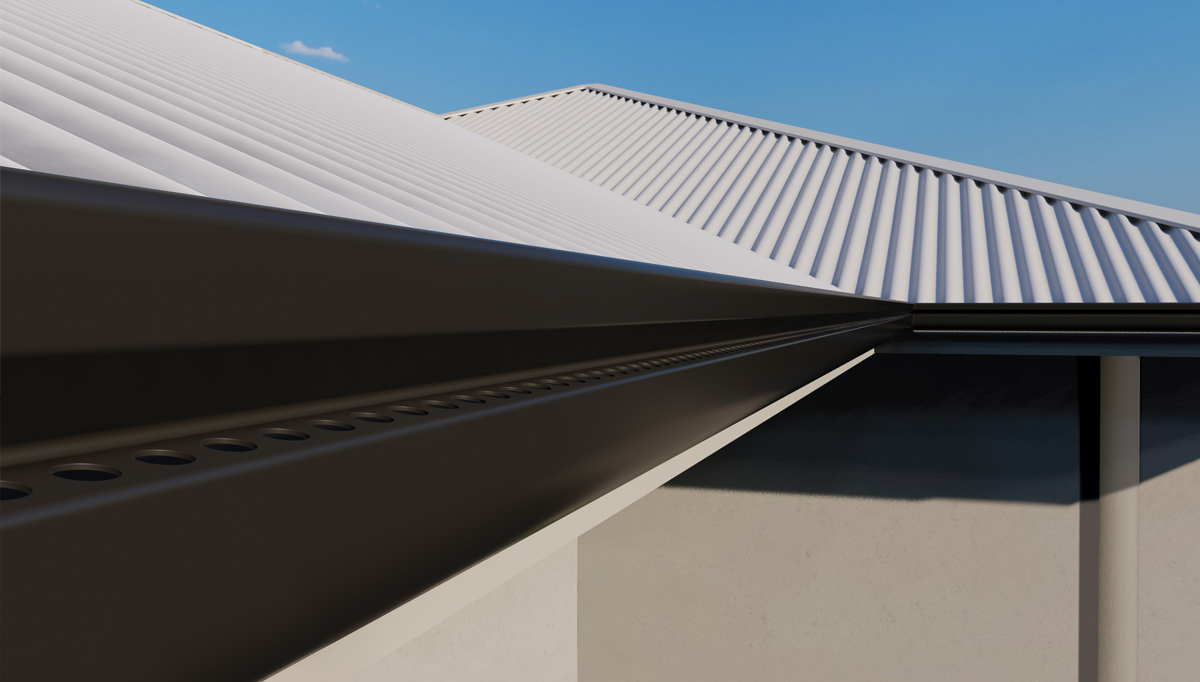Close up of the Stramit InfinitiLine Gutter showing the concealed overflow slots