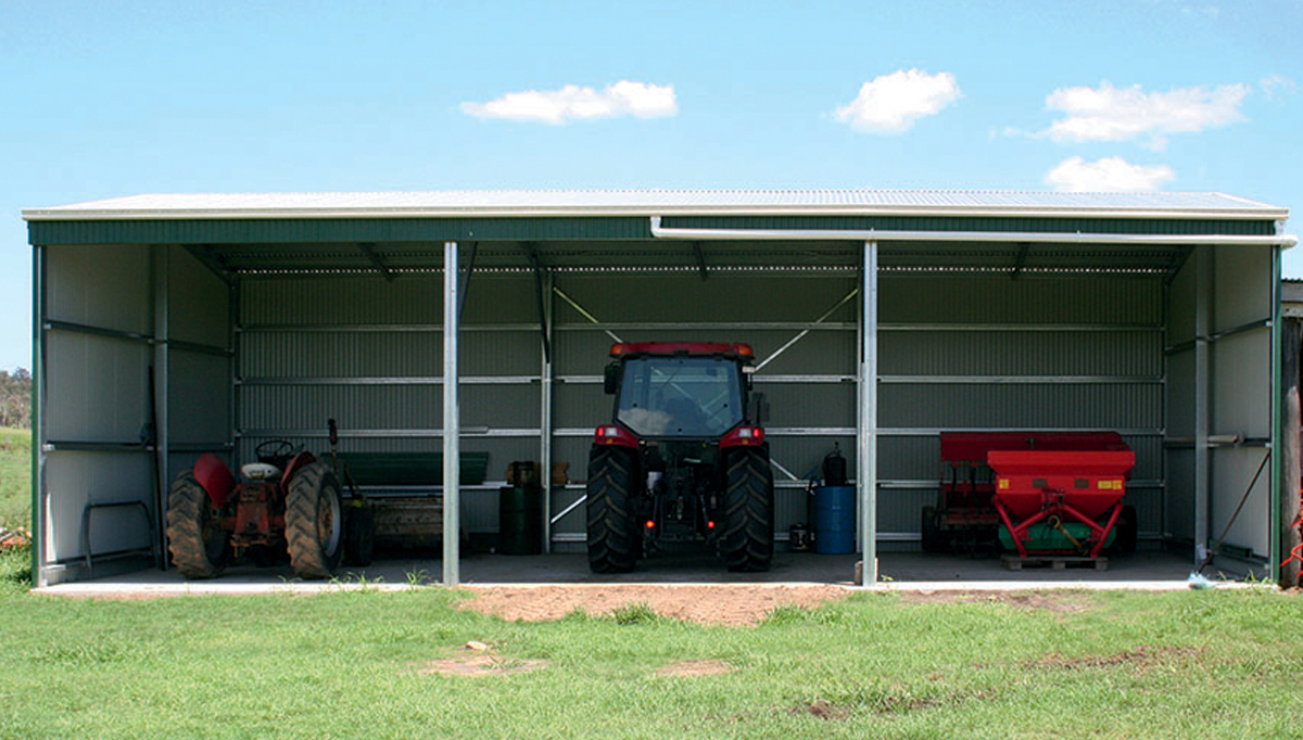 Rural shed with 3 open bays