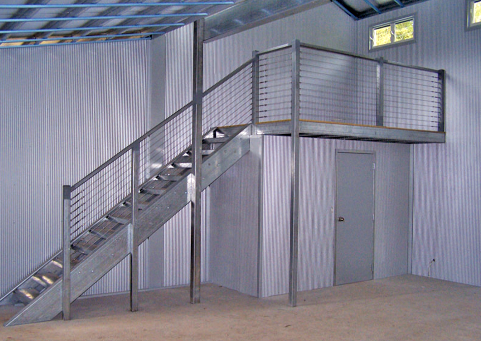 Internal stairs inside a shed