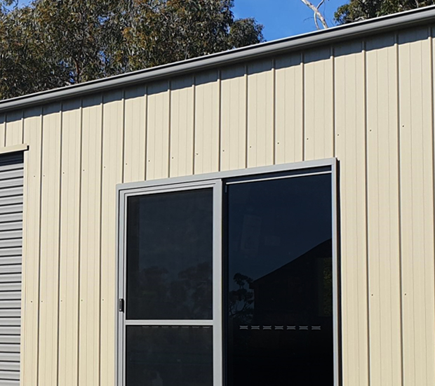 K-Panel shed with glass sliding door