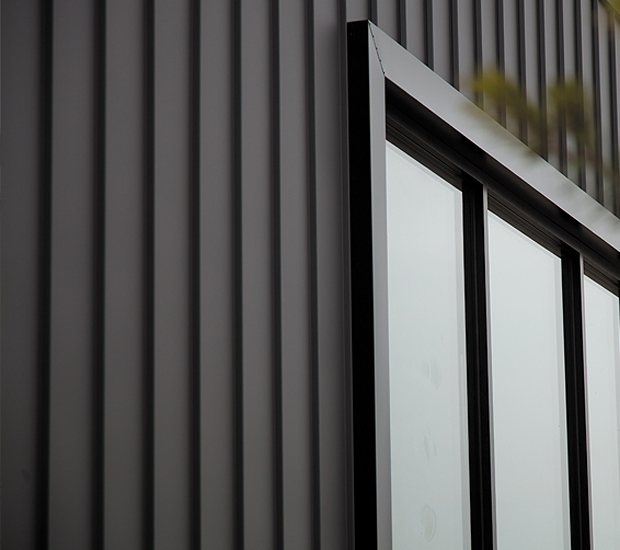 Close up of Stramit SharpLine wall cladding