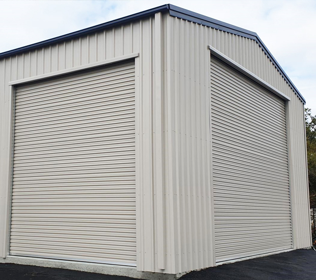 Shed with Taurean Commando commercial roller doors