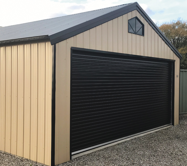 Shed with a Taurean Windstrong windlocked roller door