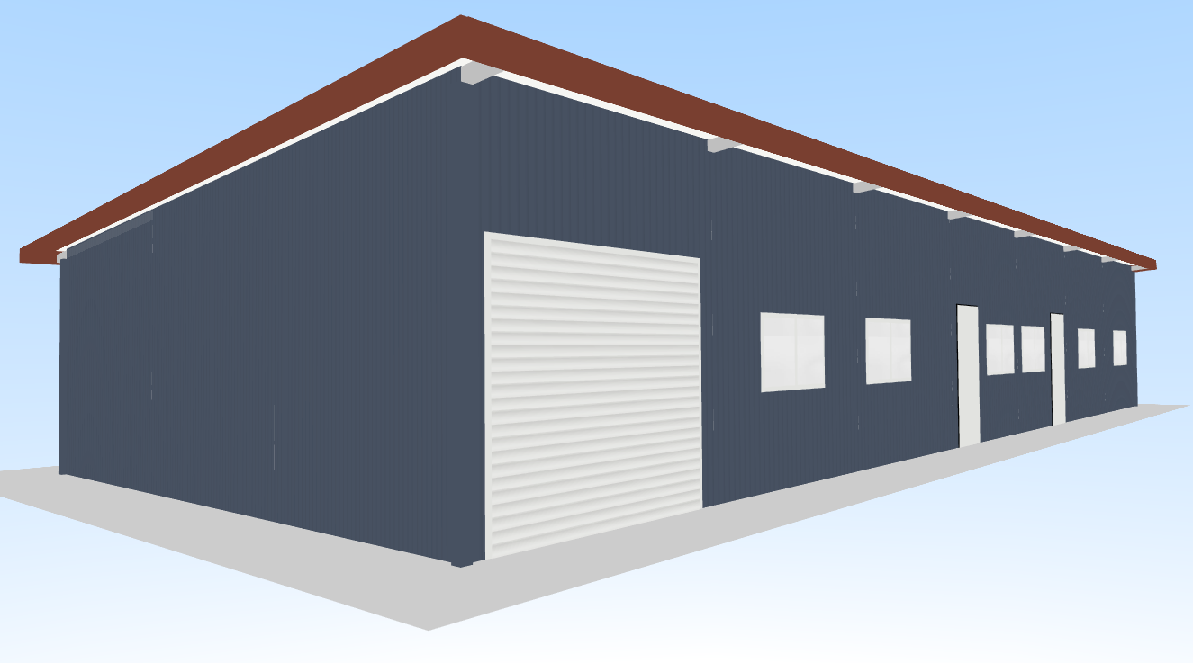 Eave shed with multiple bays