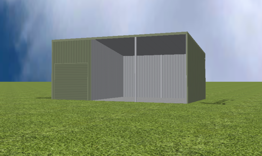 Equipment Machinery shed render with 11 degree skillion roof