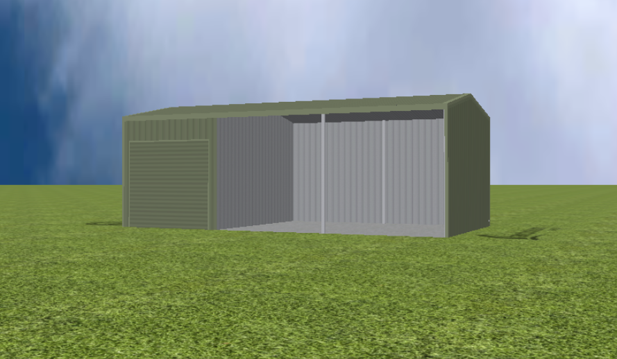 Equipment Machinery shed render with 11 degree gable roof