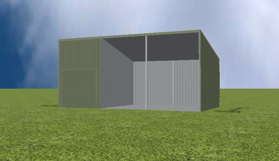 Equipment Machinery shed render with 15 degree skillion roof