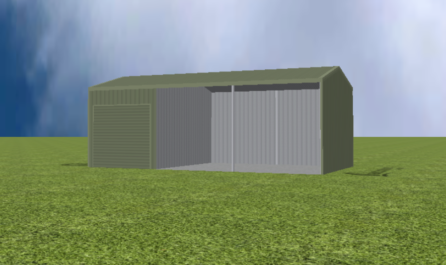 Equipment Machinery shed render with 15 degree gable roof