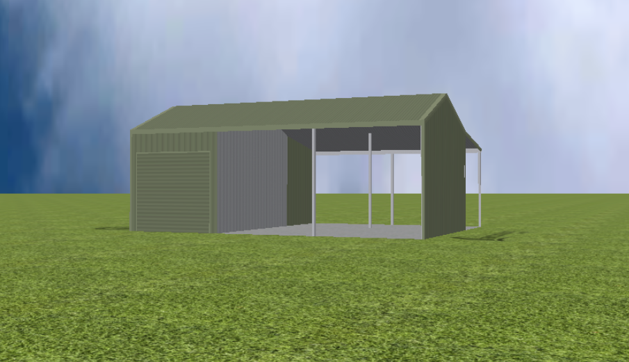 Equipment Machinery shed render with 22 degree gable roof and lean to