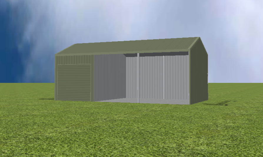 Equipment Machinery shed render with 22 degree skillion roof