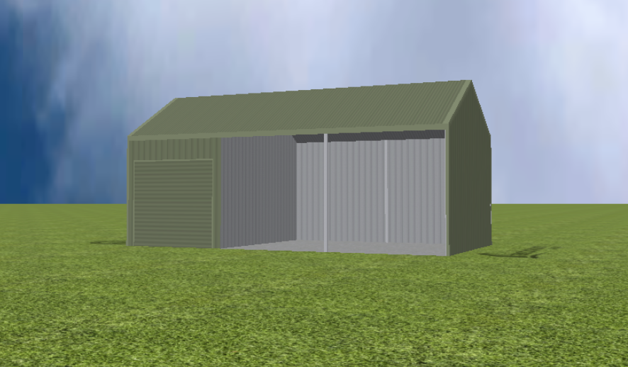 Equipment Machinery shed render with 30 degree gable roof