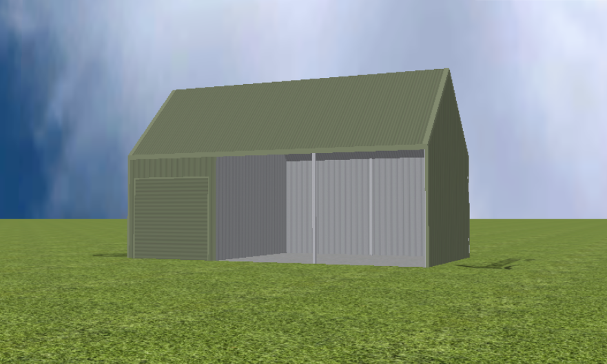 Equipment Machinery shed render with 45 degree gable roof