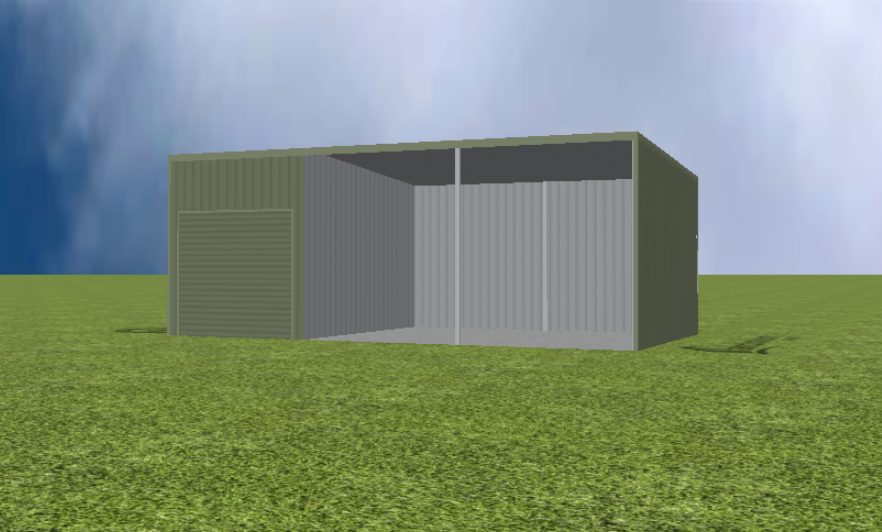 Equipment Machinery shed render with 5 degree flat roof