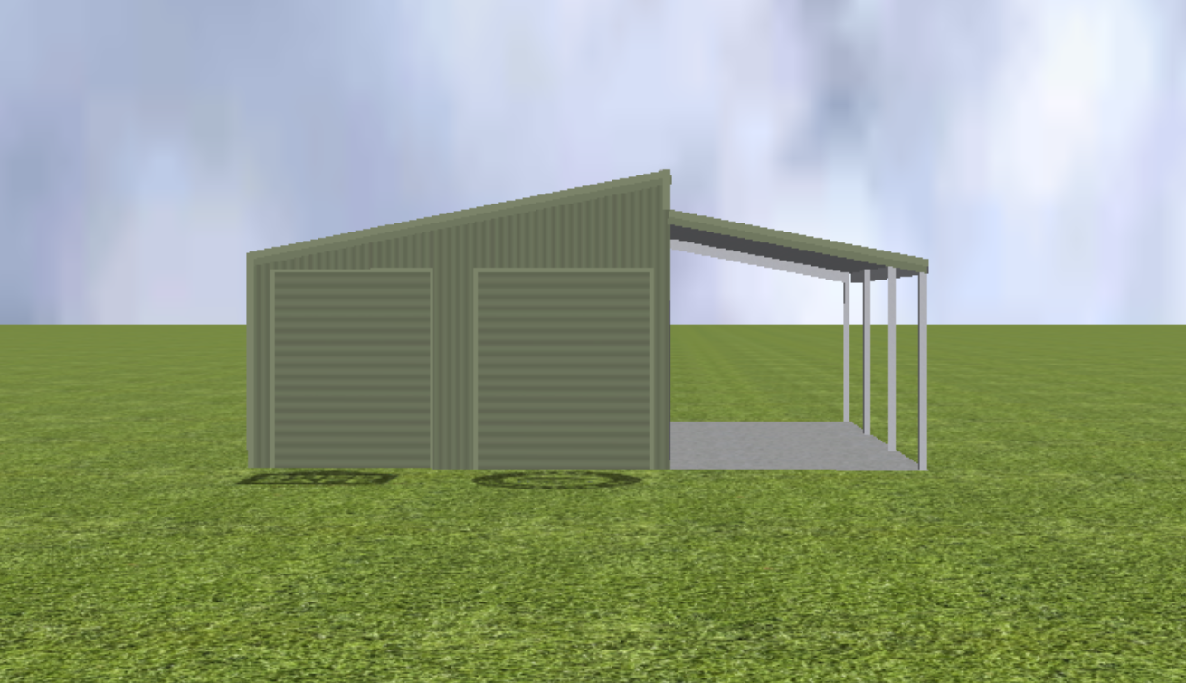 Equipment Machinery shed render with step skillion roof pitch