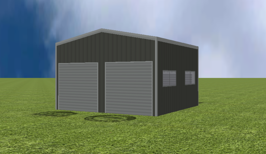 Garage render with 11 degree gable roof