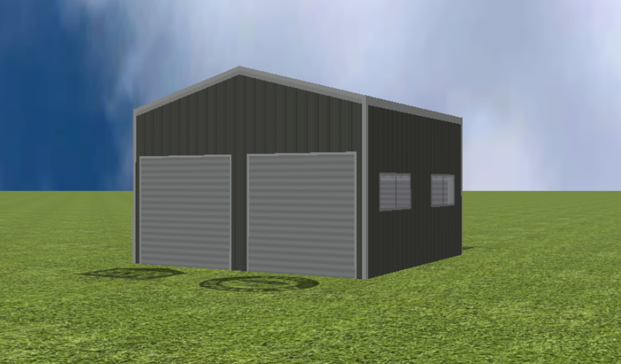 Garage render with 15 degree gable roof