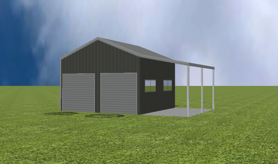 Garage render with 22 degree roof pitch and lean to
