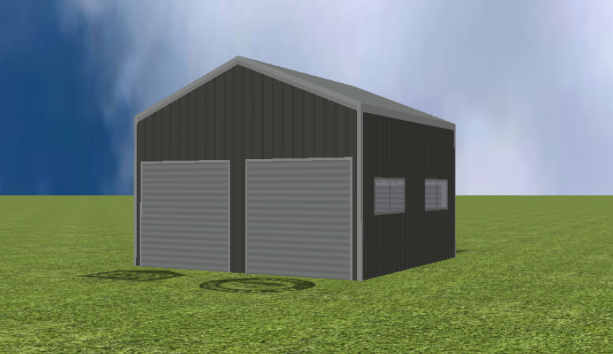 Garage render with 22 degree gable roof