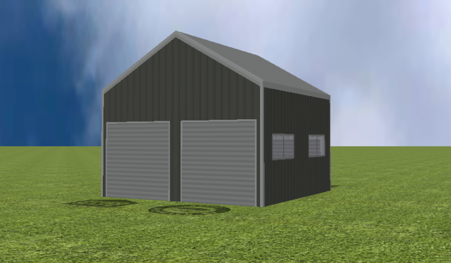 Garage render with 30 degree gable roof