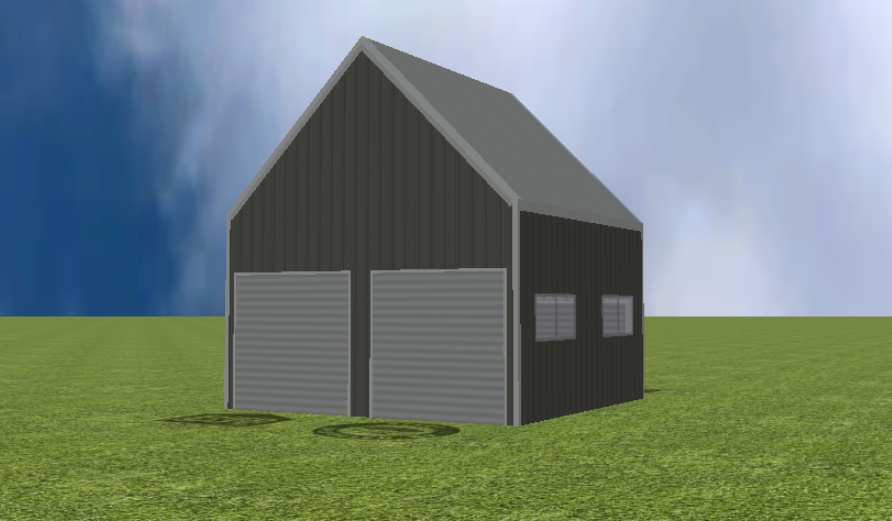 Garage render with 45 degree gable roof