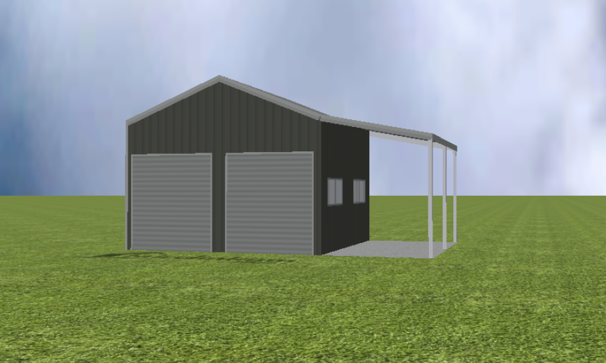 Garage  render with lean-to with no drop