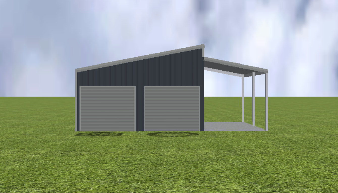 Garage render with step skillion roof pitch