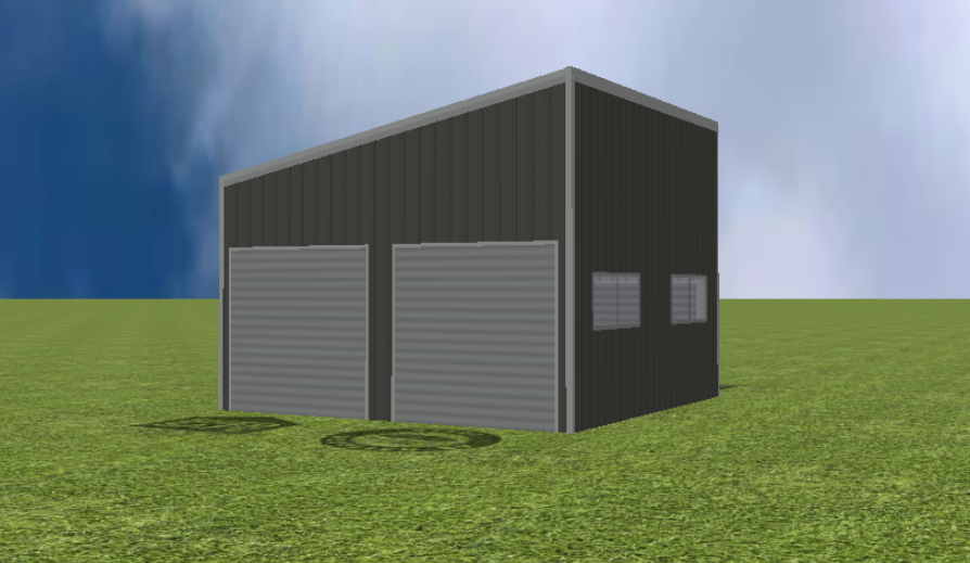 Garage render with Skillion 11 degree roof pitch
