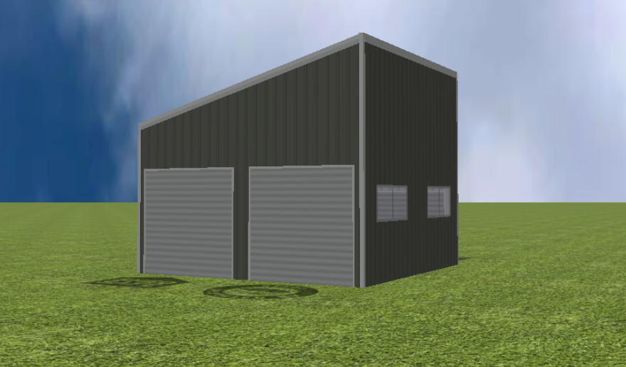 Garage render with 15 degree skillion roof