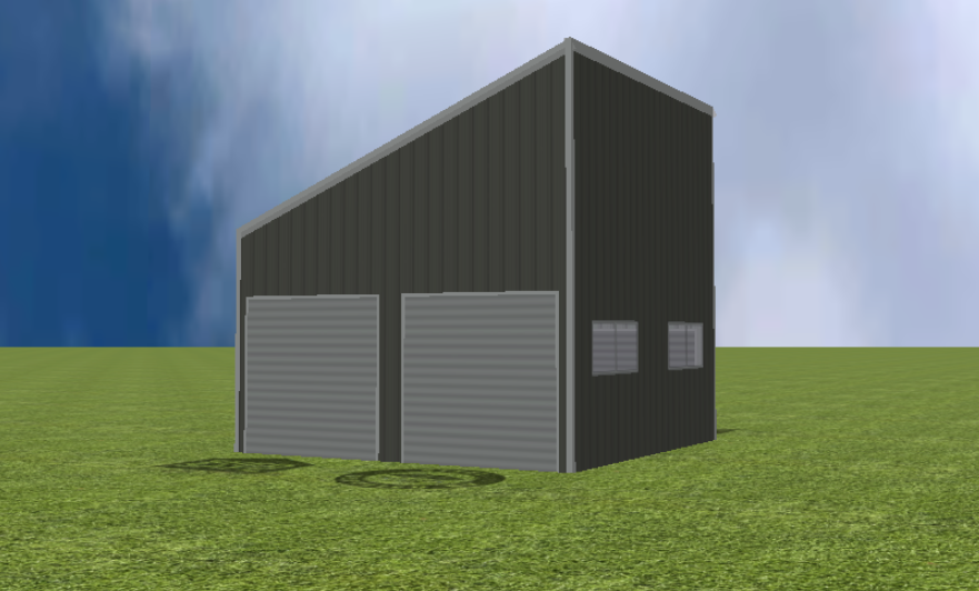Garage render with 22 degree skillion roof