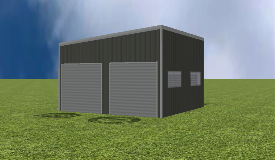 Garage render with 5 degree skillion roof