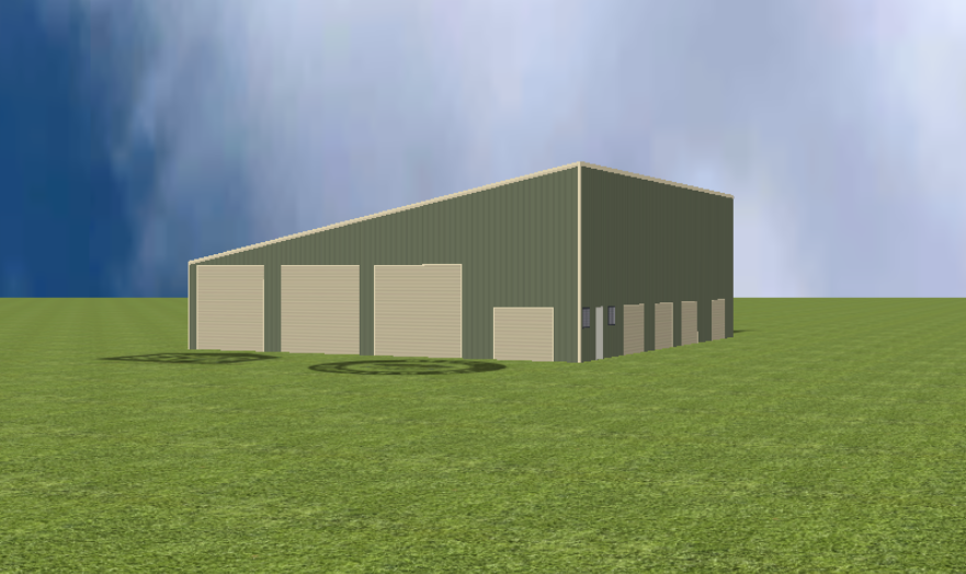 Industrial warehouse render with 11 degree skillion roof