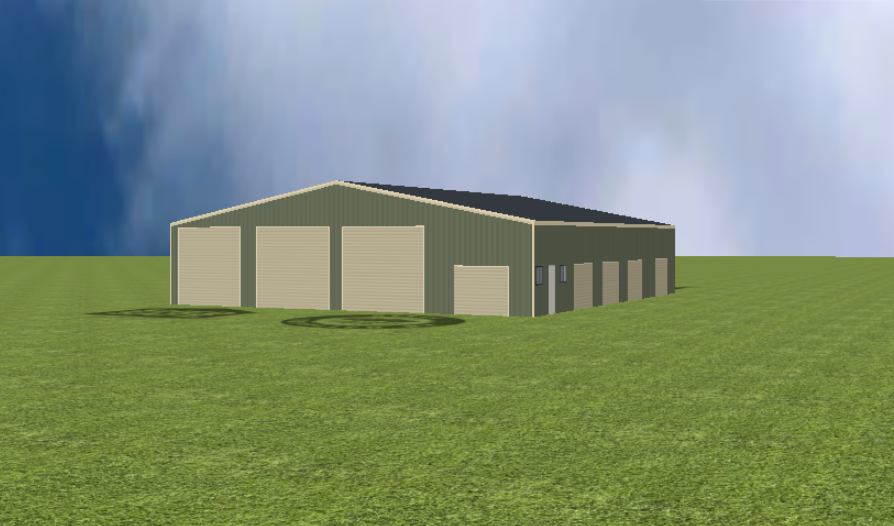 Industrial warehouse render with 11 degree gable roof