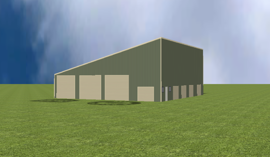 Industrial warehouse render with 15 degree skillion roof