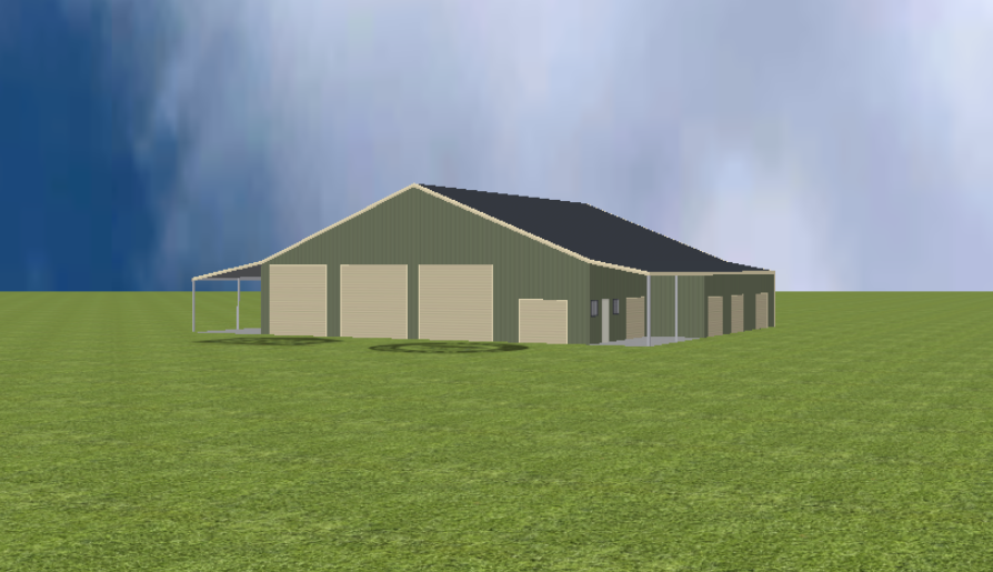 Industrial warehouse render with 22 degree gable roof and lean to