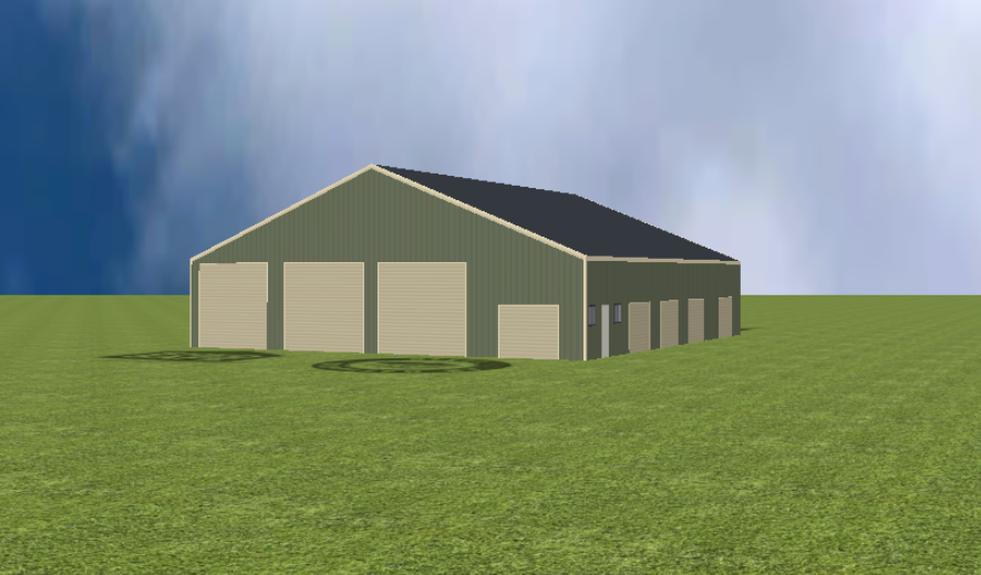 Industrial warehouse render with 22 degree gable roof