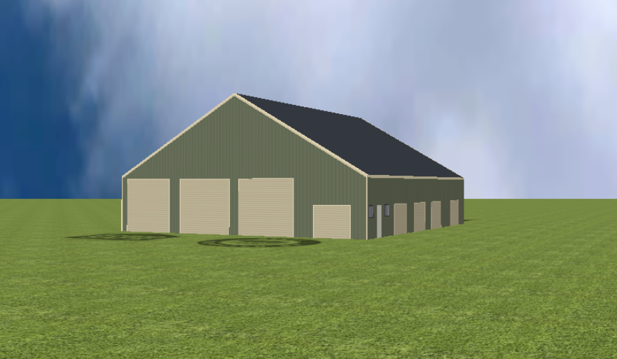 Industrial warehouse render with 30 degree gable roof