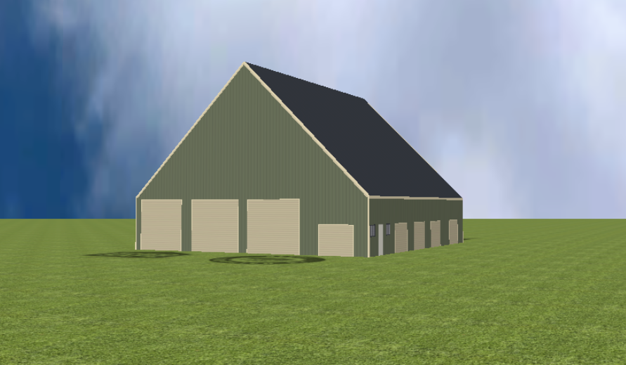Industrial warehouse render with 45 degree gable roof
