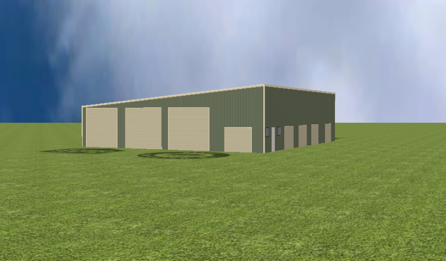 Industrial warehouse render with 5 degree skillion roof