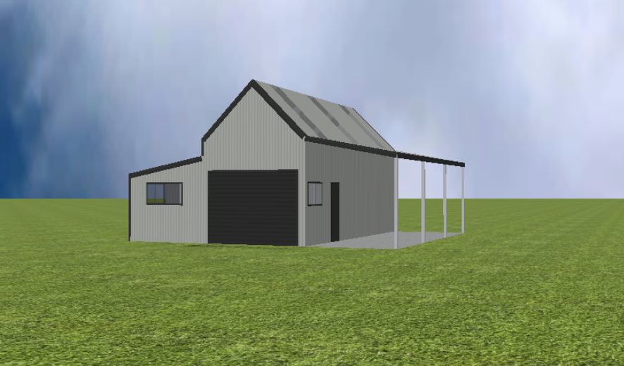 Rural shed with 45 degree gable roof